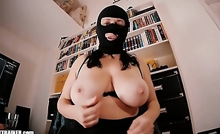 Big breasted Mom-Slut in a Spandex Fetish Mask Masturbates hither a suction-cup Dildo. Huge boobs, high heels and a cum load swallowed. Homemade amateur sex tape.
