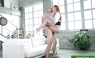 Redhead babe creampied by her guy