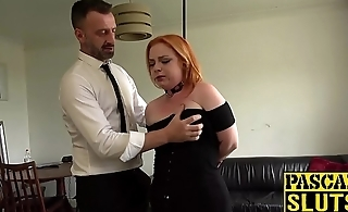 Busty redhead Harley Morgan chokes on cock before imprecise plow
