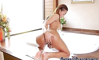 Rinse asian tgirl cums