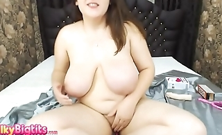Teen with big natural tits playing