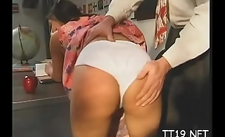 Kinky schoolgirl gets her both holes drilled hard and unfathomable