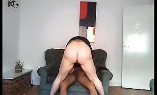 IMWF - White chubby jumping on her brown cock after possessions horny