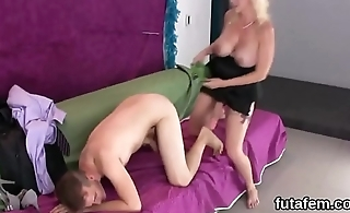 Chicks drill boyfriends butthole with oversized strap-ons and squirt jizm