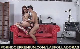 LAS FOLLADORAS - Tattooed redhead princess Silvia Rubi fucks stiff knob on set MMF