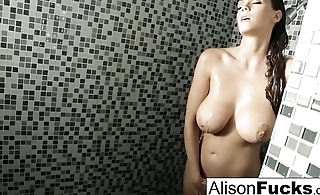Alison showers and plays with her parsimonious pussy