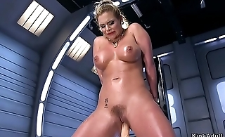 Oiled big confidential Milf fucking machine
