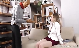 Old Goes Young Sweet babe takes a huge load of cum on h