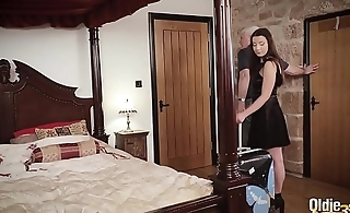 Teenager and her girlfriend get hardcore fucked by old man everywhere hotel room