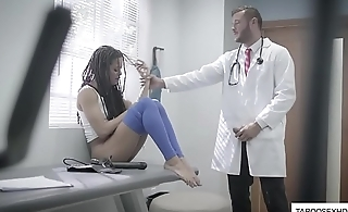Asinine doctor try to fuck ebony beauty