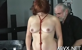 Naked woman bizarre bondage at home with horny dude