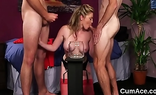 Foxy stunner gets cumshot on her face swallowing throughout the sperm