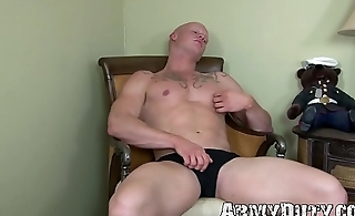 Bald marine Roman Eros shows off muscles before wank off