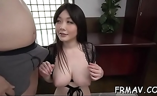 Cute japanese only gives superb oral during threesome