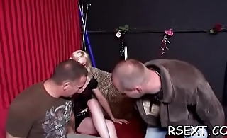 Hot chick gets down and jerks off a hard dick then sucks it