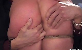 Curved ass brunette slave anal banged
