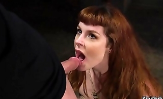 Dexterous made redhead gags on huge dig up