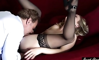 Pussylicked stepdaughter banged in stockings