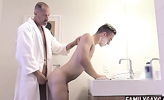 Gay step dad teaches son how to fuck