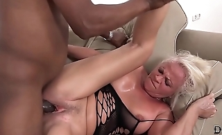 White mature has merging orgasms during sex with black man