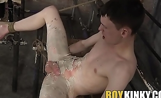 Tied up slave receives punishment before being ass fucked