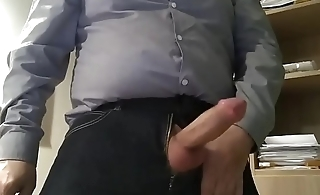 Horny dad jerks off in the office