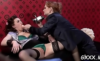 Sexy lesbian action with hardcor dildo play on pleasant pussies